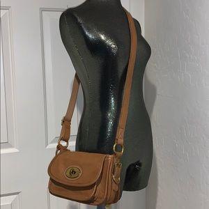FOSSIL Tan Leather Crossbody bag flap & turn lock